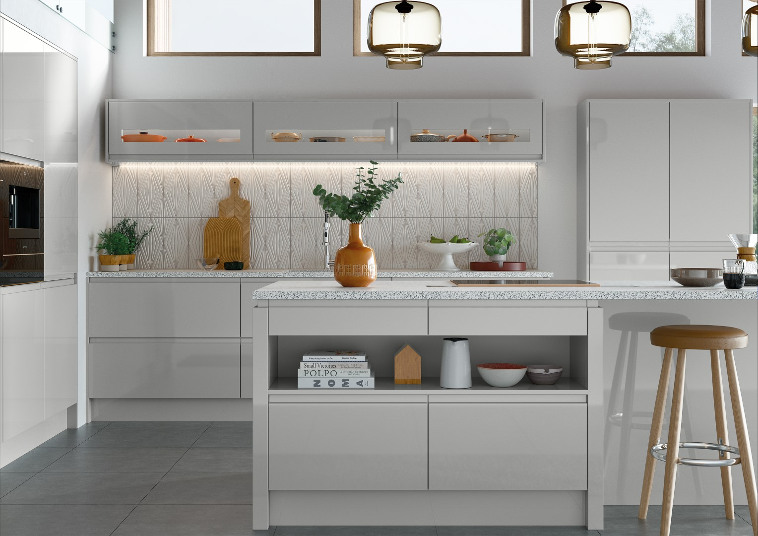 Strada Gloss Light Grey - Kitchen Design - Alan Kelly Kitchens - Waterford - 1