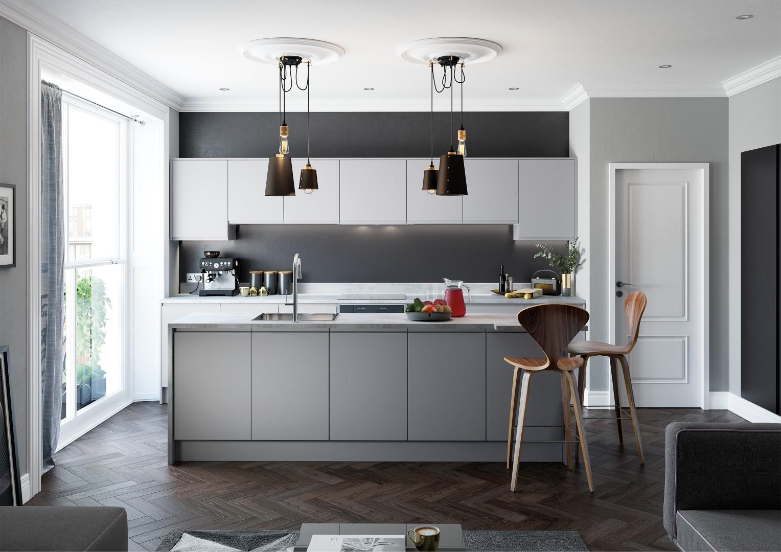 Strada Matte Light Grey and Dust Grey - Kitchen Design - Alan Kelly Kitchens - Waterford - 4