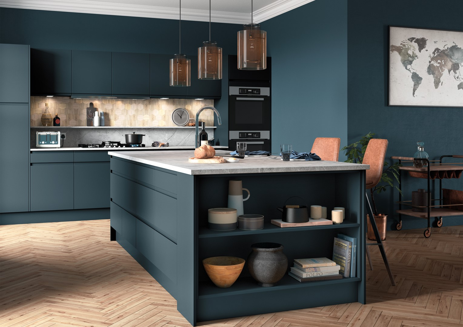 Strada Matte Marine - Kitchen Design - Alan Kelly Kitchens - Waterford - 1