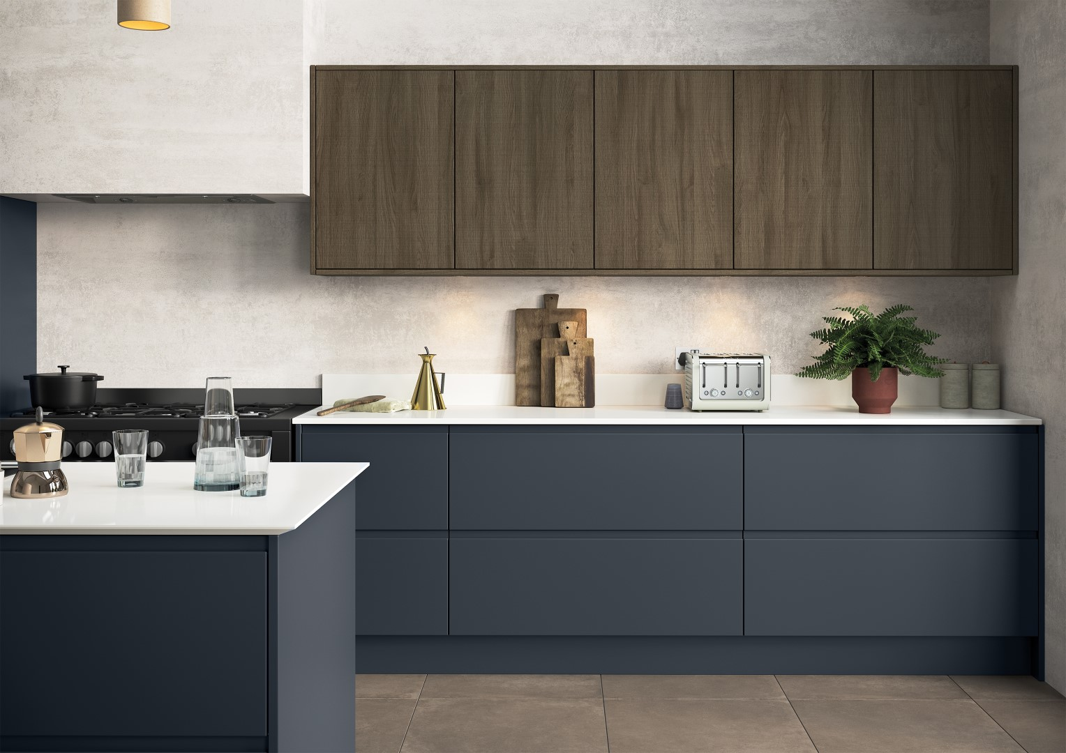 Strada Matte Slate Blue with Rezana stained Espresso - Kitchen Design - Alan Kelly Kitchens - Waterford - 1