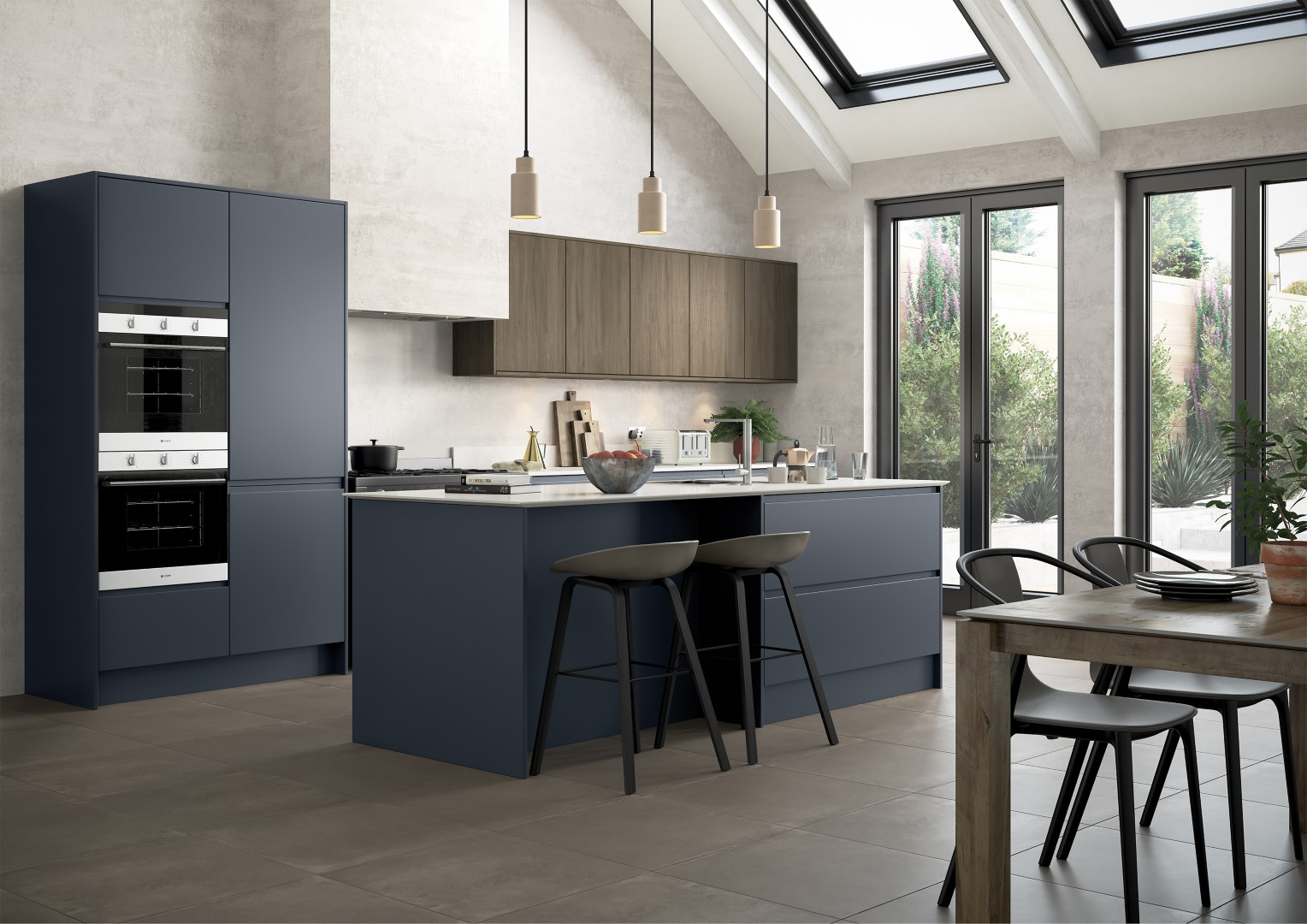 Strada Matte Slate Blue with Rezana stained Espresso - Kitchen Design - Alan Kelly Kitchens - Waterford - 4