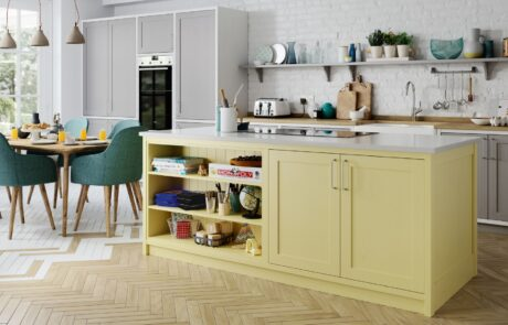 Traditional Classic Country Aldana Painted Pale Yellow, Dust Grey, Mock Inframe White Kitchen - Kitchen Design - Alan Kelly Kitchens - Waterford