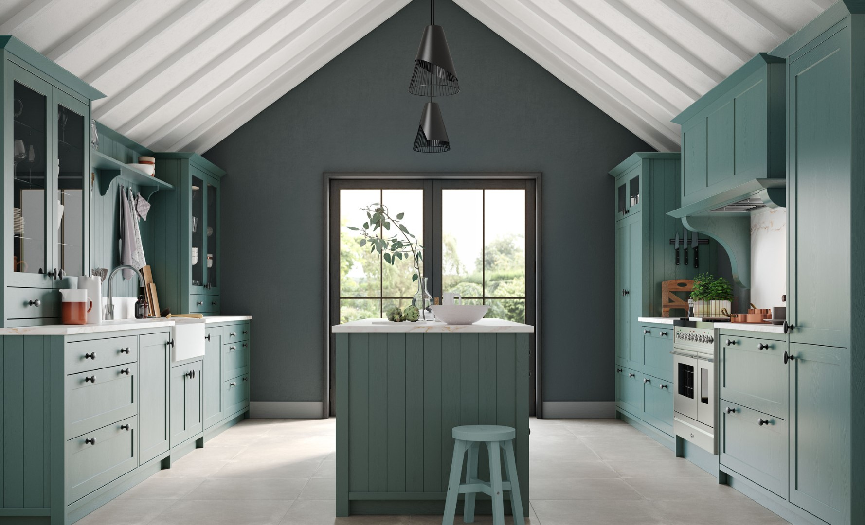 Traditional Classic Country Kitchen - Aldana Painted Viridian Kitchen - Kitchen Design - Alan Kelly Kitchens - Waterford