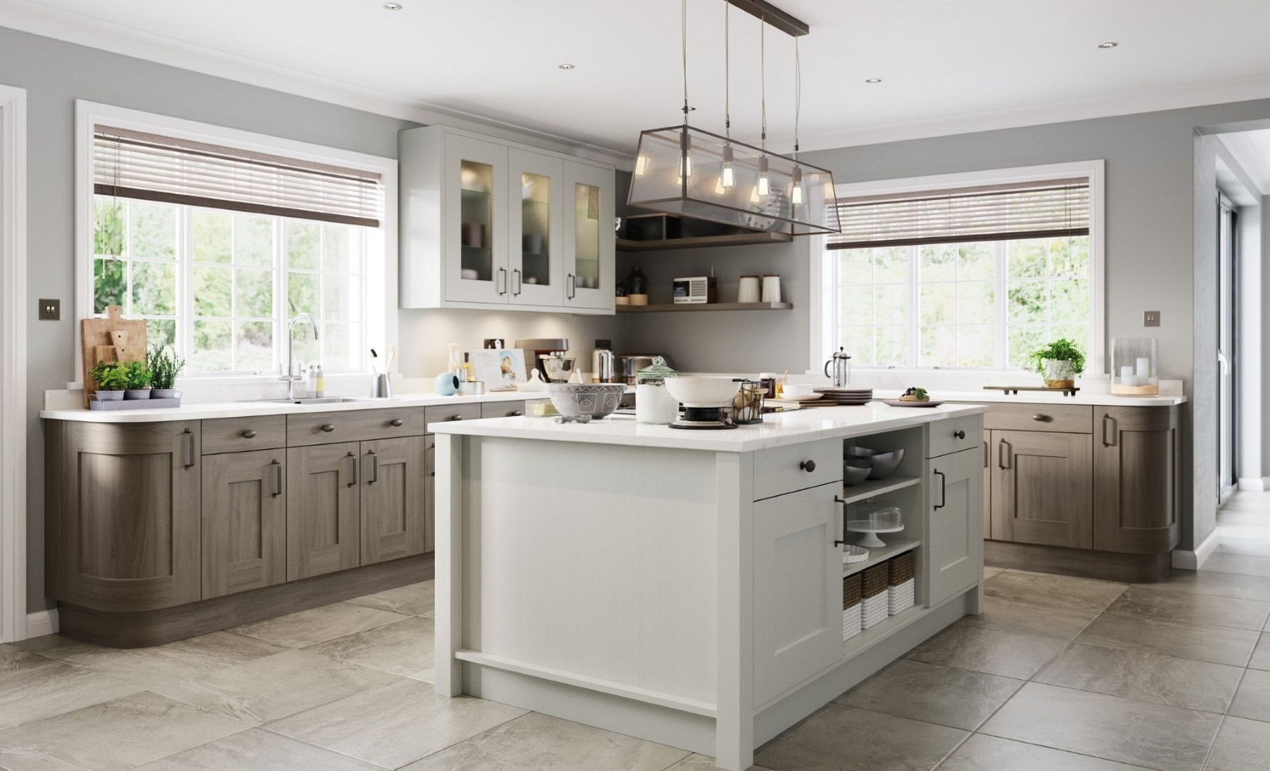 Traditional Classic Kitchen - Clonmel Painted Light Grey, Stained Carbon - Kitchen Design - Alan Kelly Kitchens - Waterford
