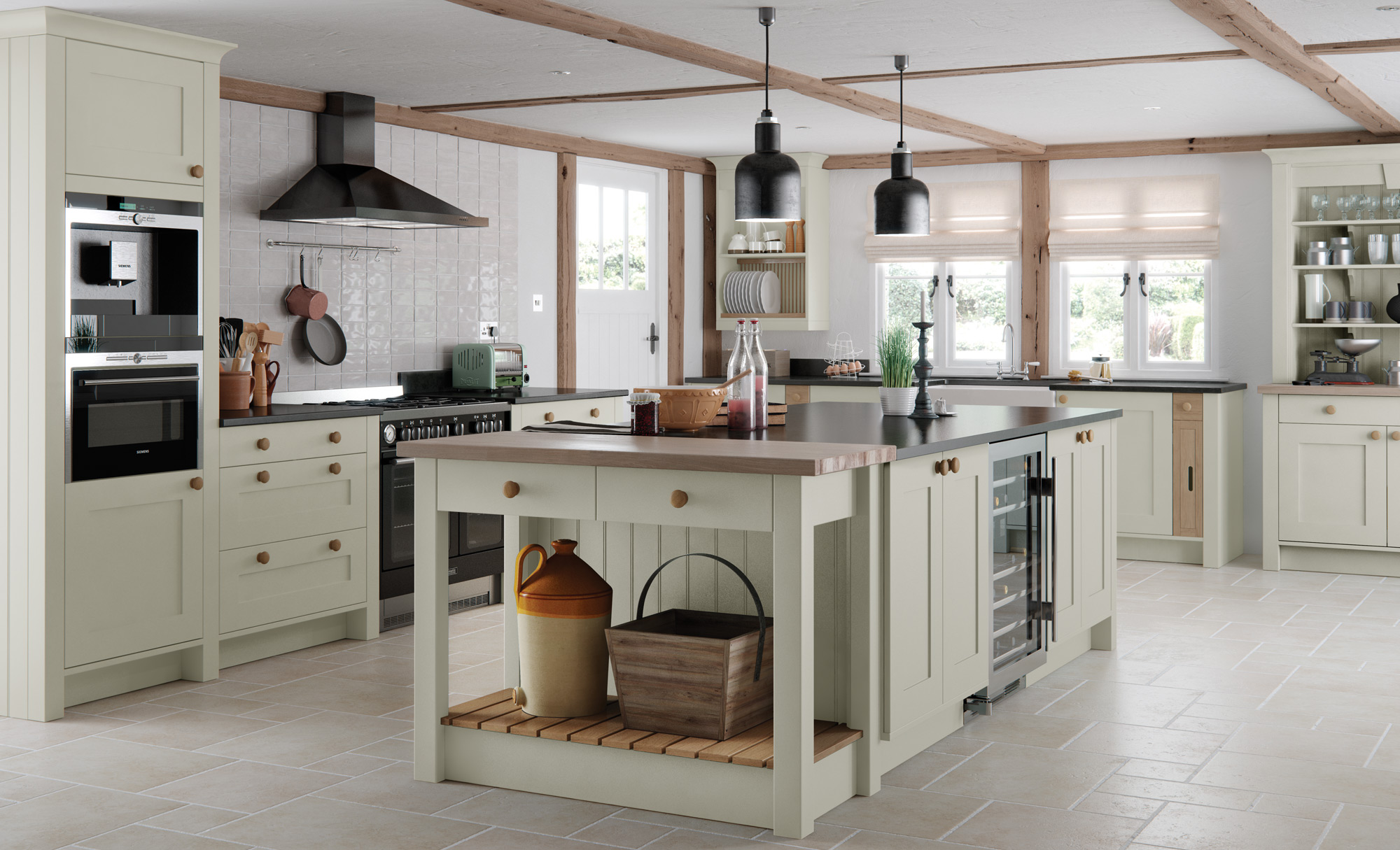 Traditional Country Kitchen - Georgia Painted Mussel Kitchen - Kitchen Design - Alan Kelly Kitchens - Waterford