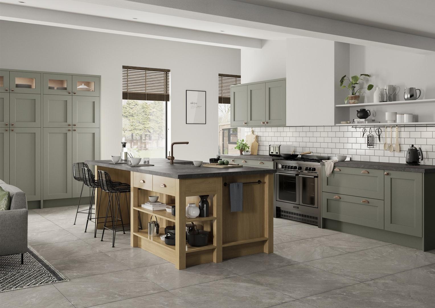 Wakefield Cardamom and Light Oak Kitchen - Kitchen Design - Alan Kelly Kitchens - Waterford