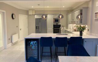 Wakefield Kitchen Door, Cornforth White Colour, Quartz Worktop Albaster Colour, Quartz Splashback - 3