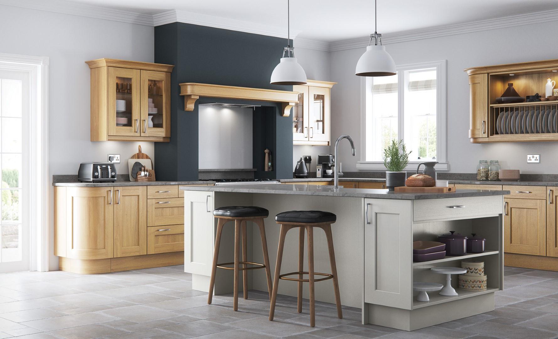 Wakefield Light Oak Painted Stone Kitchen - Kitchen Design - Alan Kelly Kitchens - Waterford