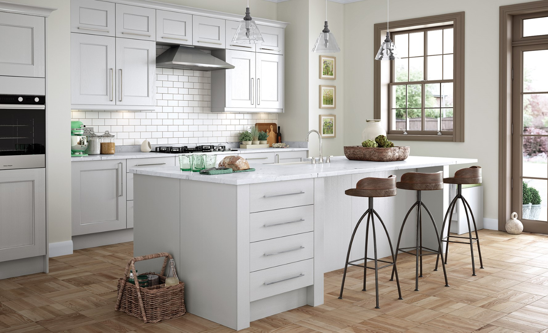 Wakefield Painted Light Grey Kitchen - Kitchen Design - Alan Kelly Kitchens - Waterford