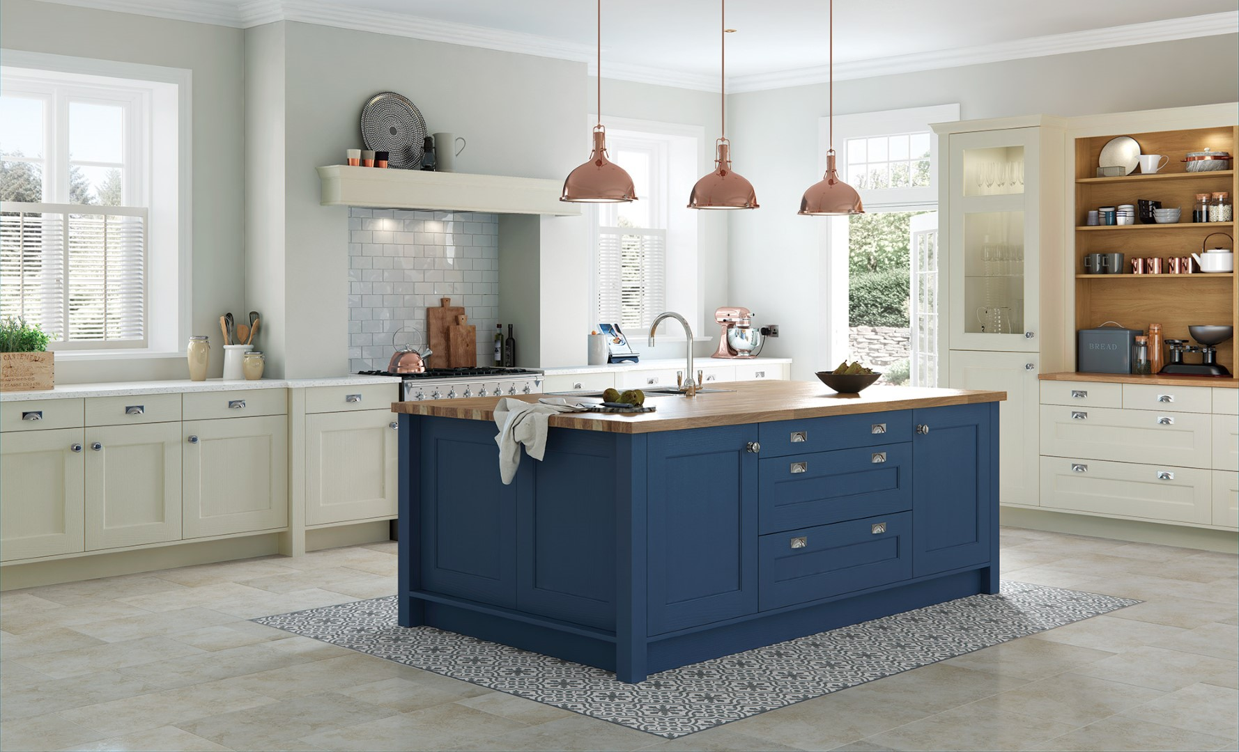 Wakefield Painted Mussel and Parisian Blue Kitchen - Kitchen Design - Alan Kelly Kitchens - Waterford