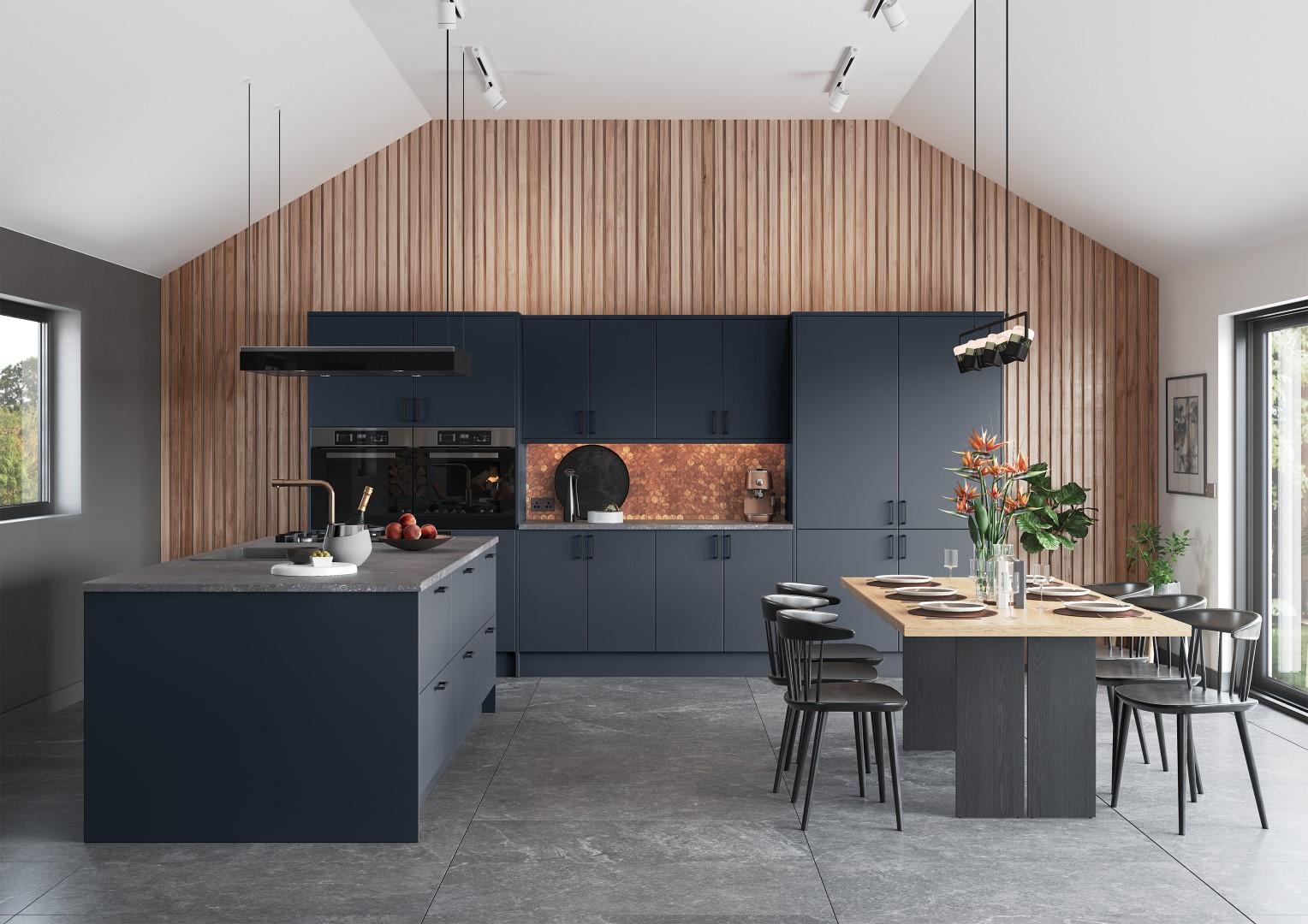 Zola Matte Slate Blue Handleless Kitchen - Kitchen Design - Alan Kelly Kitchens - Waterford