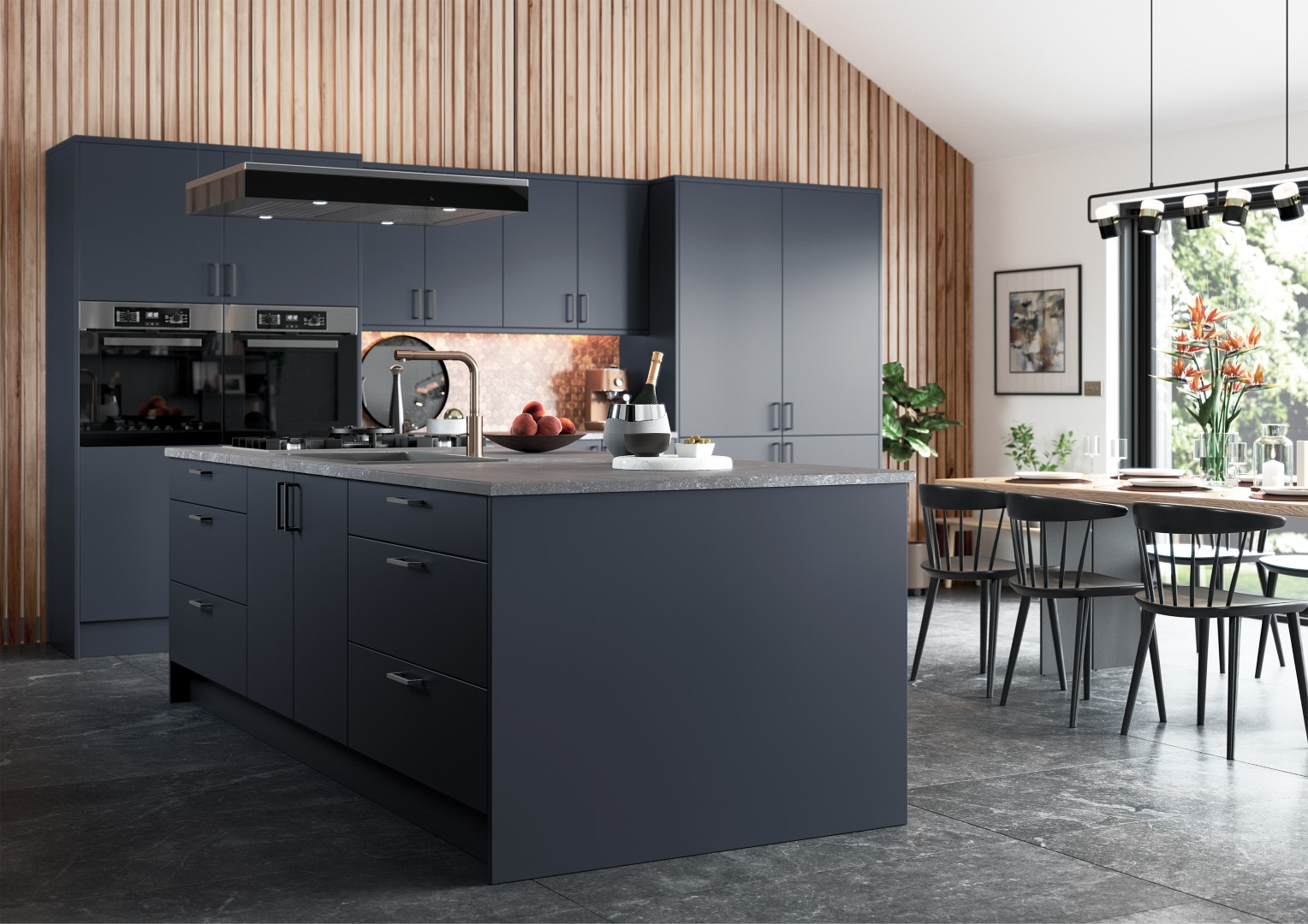 Zola Matte Slate Blue - Kitchen Design - Alan Kelly Kitchens - Waterford - 1