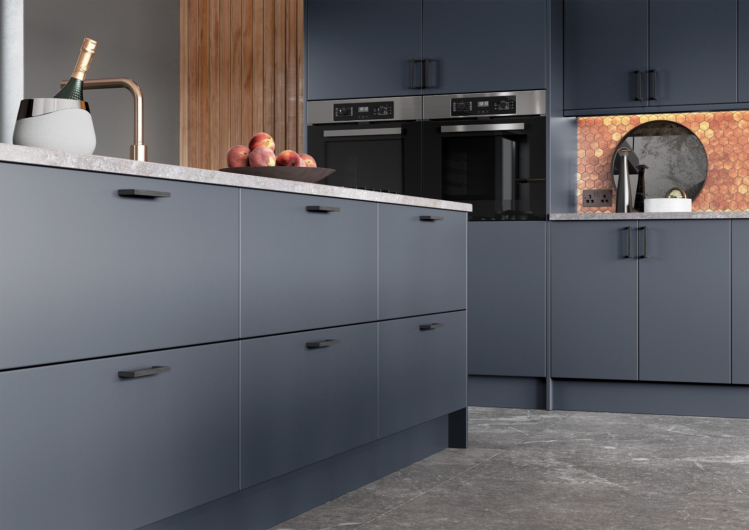 Zola Matte Slate Blue - Kitchen Design - Alan Kelly Kitchens - Waterford - 2