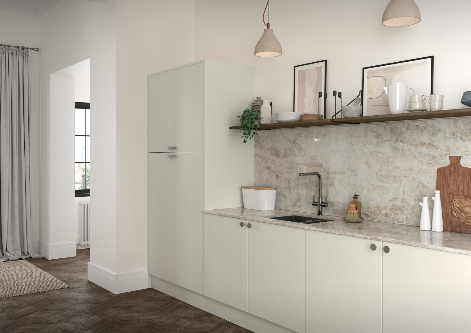 Zola Soft-Matte Porcelain and Rezana Stained Weathered Silver - Kitchen Design - Alan Kelly Kitchens - Waterford - 2